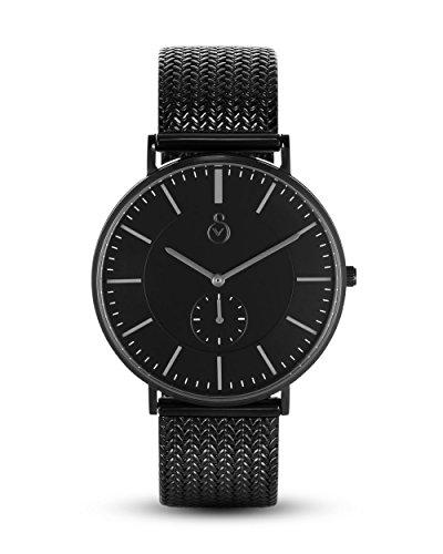 Signor VALMANO Herrenuhr Design Edelstahl Millanaise Metall-Armband Mesh mit Zifferblatt in silber 41 mm Quarz Armbanduhr analog