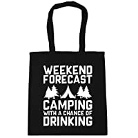 HippoWarehouse Weekend Forecast Camping With a Chance of Drinking Tote Shopping Gym Beach Bag 42cm x38cm, 10 litres