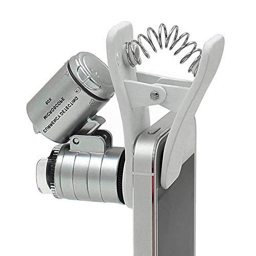60X Mini Handy Kamera Clip Lupe Universal Tragbare Lupe mit 2 beleuchteten LED und UV-Licht für Handy iPhone Galaxy one Size Silber (Sehbehinderte Spielen Karten)