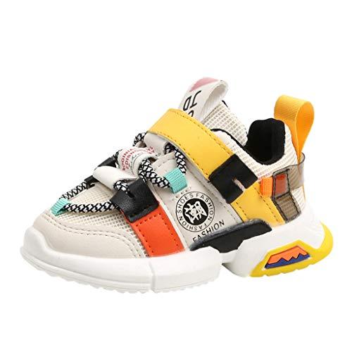 Allence Unisex Kinder Sneaker Turnschuhe Wander Outdoor Sportschuhe Kinder Jungen und Mädchen Hit Farbe Buchstaben Netto Tuch Schuhe Turnschuhe Freizeitschuhe (25 EU, Weiß1)
