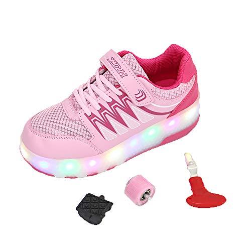 promo code 2c9e5 ba6f3 LHWAN Heelys Unisex Kids Fitness Glowing Schuhe, Automatikmodelle Leuchten  Zwei Räder Schuhe Skateboard Schuhe Cool