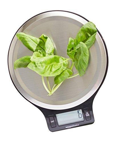 AmazonBasics Balance de cuisine numérique à écran LCD Fonction tare et piles incluses 5kg max.