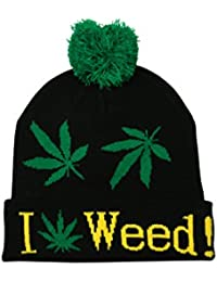 Turn Up Bobble Pom Pom Beanie Hat I Love Weed Leaf in Black Green White/Yellow
