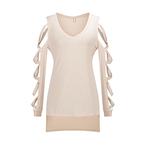 WanYang Frauen Langarm Hohle Loch Bluse Sweater Frauen höhlen lose kurze  Hülsen-beiläufige Bluse Shirt