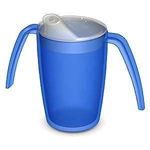 Ornamin 2-Henkel-Becher 220 ml blau mit Schnabelaufsatz | ergonomischer Schnabelbecher mit zwei Henkeln sicher Greifen und Halten bei Zittern | Trinkhilfe, Pflegebecher, Tremor-Becher, Schnabeltasse
