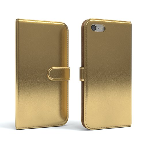 "iPhone 8 Hülle / iPhone 7 Wallet Case - EAZY CASE Bookstyle Cover ""VINTAGE"" Klapphülle für Apple iPhone 7 & iPhone 8 - Edle Schutzhülle als Geldbeutel mit Kartenfach in Anthrazit Schwarz Metallic Gold"