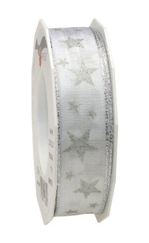 Präsent 25 mm 20 m ARKTIS - Band mit Draht, silberne Kante, weiß/silber