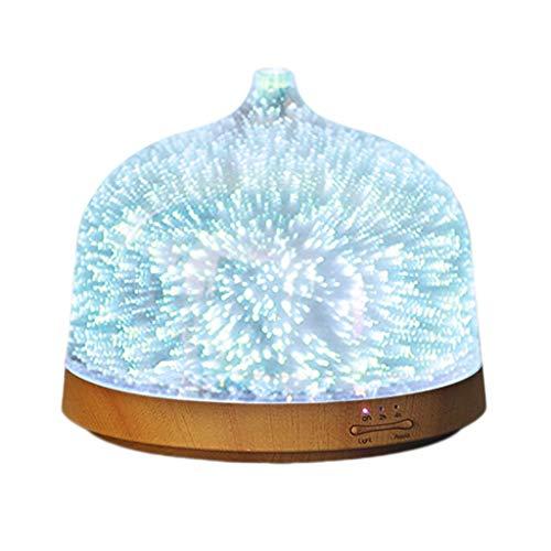 200mL Ultraschall Aromatherapie Luftbefeuchter 7 Bunte LED Lichter Einstecken Negative Ionen Schlafzimmer Ätherisches Öl Aroma Luftbefeuchter (Color : Clear)