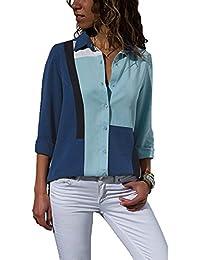 Aranmei Donna Camicetta Chiffon Blusa Elegante Camicia Manica Lunga Scollo V (S-XXL)
