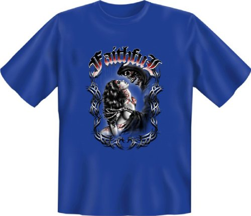 T-Shirt - Faithful - treu ergeben bis Zum Tod Tag der Toten Skellett Face Tattoo Skull Dia de Los Muertos Girl Gr. S : (Dia De Muertos Girl Kostüm)