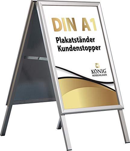 Plakatständer Alu - Line Rondo DIN A1 Luxus beidseitig (für 2 Plakate) - Kundenstopper Gehwegaufsteller Werbetafel wetterfest