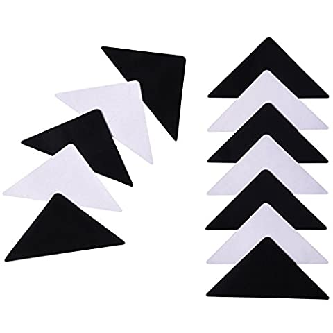 Outus Rug Grippers Stopper Rug Corner Grippers Anti Slip Non Slip Mat Carpets Pad, Black, 1/ 25 Inch Thickness, 12 Pieces