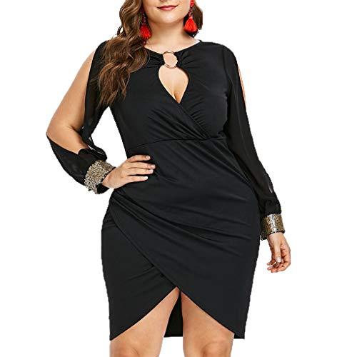 ❤❤ JiaMeng Frühling Sommer Große Größe Cocktailkleid Mode Elegant Beauty Kleid Party hohl Dress Freizeit V-Ausschnitt Abendkleider für mollige XL-XXXXXL