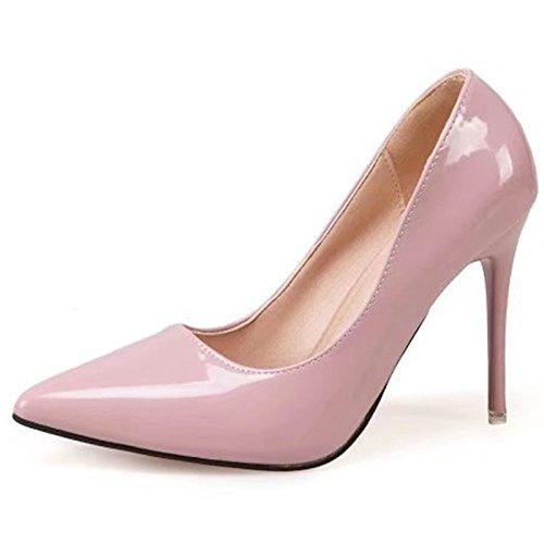DIMAOL Scarpe Donna Gomma Rientrano Comfort Tacchi Tacco Basso Punta per Esterni di Mandorla Arrossendo Rosa Rosso Bianco Nero Rosa