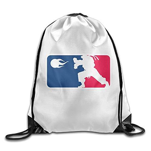 (Men's Women's Print Shoulder Drawstring Bag Port Bag Backpacks String Bags School Rucksack Gym Bag Street Fighter RYU Hadoken White.)