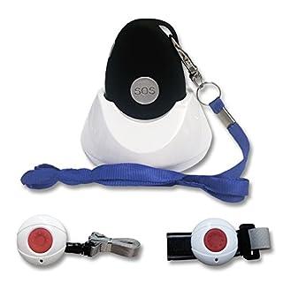 Kombi-Notrufsystem für Zuhause und unterwegs | Anruf und GPS Position, Fallsensor, spritzwassergeschützt, Pflegeruf-Set, Senioren Funk Alarm | mit Halsband + Armbandsender und Ladestation