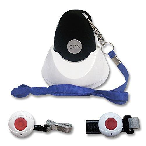 Kombi-Notrufsystem für Zuhause und unterwegs / Pflege-Set / mit Notfallknopf / Senioren Funk System/ inkl. Halsband, Armbandsender und Ladestation / spritzwasserdicht