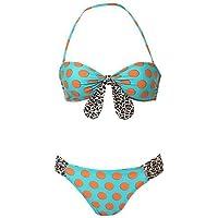 ZQ Donna Halter/Bandeau Bikini, Dot/Wireless di animali in nylon multicolore, multi-color-2xl, XXL