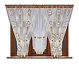 FK-Lampem Schöne Fertiggardine Fenstergardine Gardine aus Voile mit Faltenband Kräuselband Smokband Store Kurz mit Blumenmotiv Blumen Farben 150x400 cm LB-53 (53-2 Hellbraun)