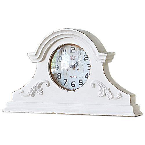 Loberon Uhr Andilly, MDF, Zinn, Glas, H/B/T ca. 24/40,5/6 cm, antikweiß