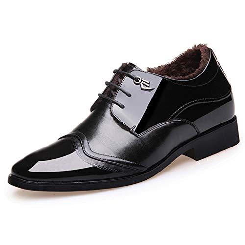 Okeak Männer Hochzeit Schnürschuh britischen Art-Leder-Kleid-Schuh-Spitzen Zehe-Geschäft niedrige Spitzenschuhe Warm im Winter Schuhe,Schwarz,44