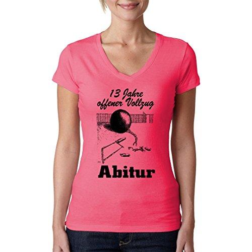 Fun Sprüche Girlie V-Neck Shirt - Abitur - Offener Vollzug by Im-Shirt Light-Pink