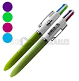 1x Premier Proscribe - 4 Colour Click 'n' Flick Ballpoint Pen. Purple, Pink, Green and Blue Ink. Retractable 4-in-1 school pen. 4 ink colours. Biro pen. Green Barrel.