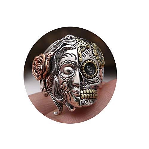 DXFY Schädel Bandring Siegelring Halbes Gesicht Ringe für Männer Jungen Skull Biker Ringe, 925 Sterling Silber Retro Charm Punk Rock Schädel Herrenring,Q (Biker-ringe Für Männer 925 Silber)