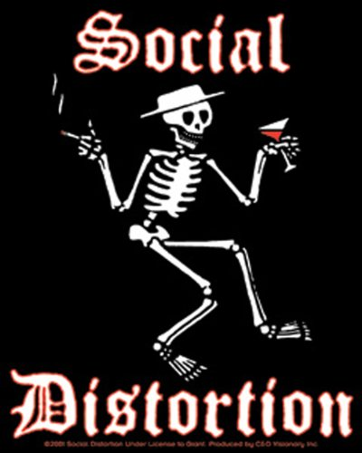 """SOCIAL DISTORTION Skeleton scheletro STICKER ADESIVO, Officially Licensed Products Classic Rock Artwork, 5"""" x 4.3"""" - Long Lasting for Any Surface Sticker DECAL"""