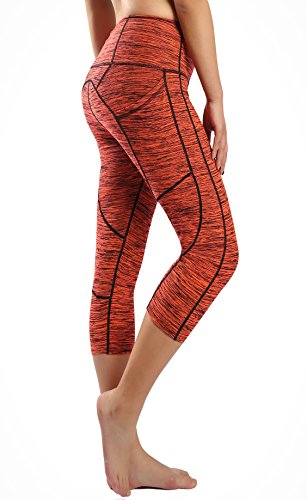 Munvot Damen Laufhose Sporthose Sport Leggings Tights-AE1929/Orange (Smartphone Tasche)-L