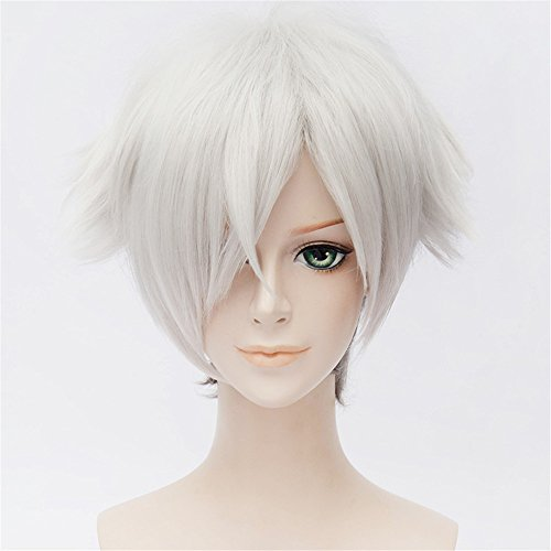 LanTing Cosplay Perruque Death Parade Decim Silver White Mix Parrucca Corta Styled Femmes Cosplay Party Fashion Anime Human Costume Full wigs Synthetic Cheveux Heat Resistant Fiber