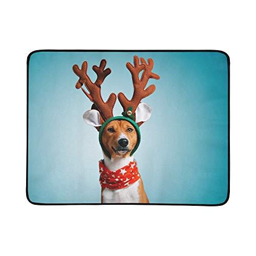 JEOLVP Nahe Porträt-lustiger schöner Hund, der tragbare und Faltbare Deckenmatte 60x78 Zoll handliche Matte für kampierenden Picknick-Strand