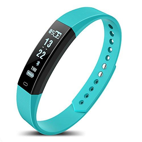 Niocase Smart Armband Sport Fitness Tracker, Touch Smart Armband mit Herzfrequenz Schritt Schlaf Bluetooth Sport Armband für Kinder Frauen Männer Blau