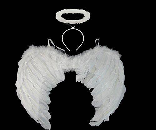 Preisvergleich Produktbild Redstar weiße Engels-/Feen-Flügel und Heiligenschein–Weiße Flügel, für Halloween / Kostüm-Party