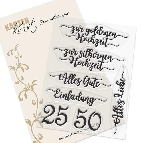 Clear Stamp-Set Stempel-Gummi Karten-Kunst - Zur silbernen und goldenen Hochzeit