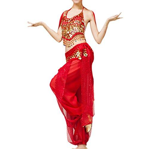 Indische Kostüm Stück Zwei - Timagebreze Bauchtanz Kleidung Kostuem Bauchtanz Set indischen Tanz Kleidung 2 Stueck Oberteile & Hose (rot)
