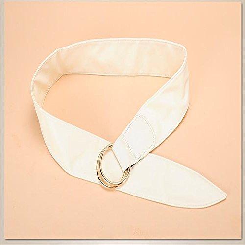 LONFENN Breite Gürtel Mode Doppelring Schnalle Mit Rock Trim Gürtel Weiblichen Taillensiegel White -100Cm - Smooth Trim-ring