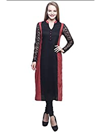 trendsnu Viscose With Embroidered Mesh Solid Rust & Black Women's Kurta_(ETH002)