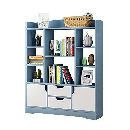 Asdflina-furniture Buch Organizer Bücherregal Holz Display Rack Speicherorganisator für Bücher, Topfpflanzen, Bilderrahmen Bücherregale (Farbe : Blau, Größe : 100 * 25 * 120cm)