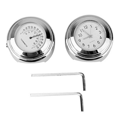 WINOMO 2 Piezas Reloj y Termómetro para Manillar de Moto 7/8 Pulgada...