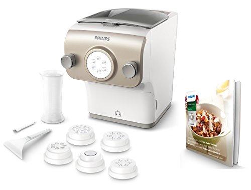 Philips HR2381/05 Pastamaker (200 Watt, vollautomatische Nudelmaschine, mit Wiegefunktion und 6 Formscheiben) weiß /champagnerfarben