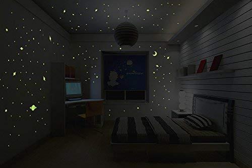 Ambiance-Live Sticker Lune phosphorescente 30cm avec 150 pétites étoiles et planètes