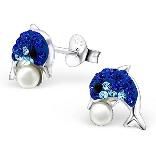 16Styles de boucles d'oreilles argent fille à choisir de Argent Sterling 925hypoallergénique-Boucles d'Oreilles Femme-avec boîte cadeau - dauphin