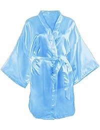 Damas Satinado Bata De Baño Kimono Noche Vintage Albornoz De Dormir Suelta Calentamiento Funda Camisón para