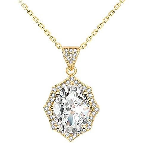KnSam Donne Placcato in Oro Per la Collana Grande Ovale Chiaro Rolo Bianco Cristallo Zirconia Cubica Strass [Novità