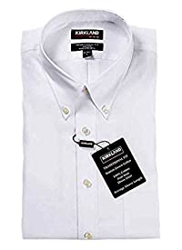 Kirkland Signature Men's Traditional Fit Non-Iron Button Down Collar Dress Shirt (L16.5x32/33, Solid White Herrigone