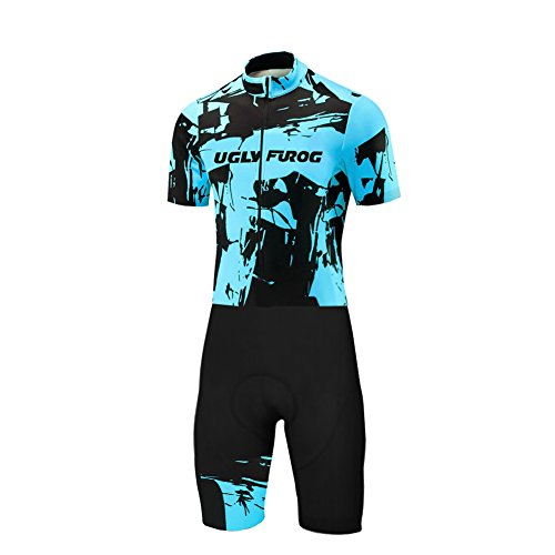 Uglyfrog Herren Triathlon Tri Suit Short Sleeve Quick Dry Skinsuit - Triathlon-Rennanzug mit erweiterter Zippers Breathable & Durable Cycling Suits