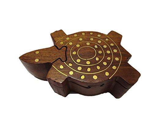 Schildkröte Puzzletruhe Trickbox Tricktruhe Truhe Schatztruhe Puzzlebox Geheimschatulle Holz Truhe Herz Katze Eule Schildkröte Schatzkiste Puzzle Schmuck (Schildkröte)