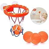 NATUCE Badespielzeug für Babys, Pool Spielzeug Basketballkorb & Bälle Spielset mit Saugnäpfe für Babys Kleinkinder Kinder, 3 Bälle