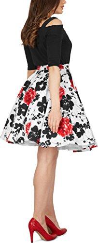 Black Butterfly Floral Rockabilly 1950er-Jahre Swing Tellerrock (Weiß und Rot, EUR 42 – L) - 3